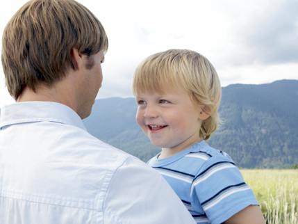 Man and boy in the mountains