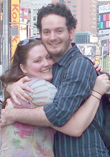 Crystal and Sky, hugging in times Square, NYC